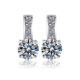 18K White Gold Plated Overloop Swiss Cubic Zirconia Earrings, 1.3cm
