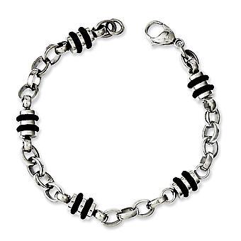 Stainless Steel Polished Fancy Lobster Closure Rubber Accent Barrel Link Bracelet - 8 Inch