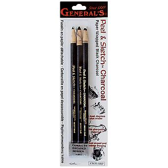 Peel & Sketch Charcoal Pencils 3 Pkg 5630Abp