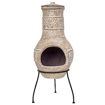 La Hacienda Star Flower Medium Straw Clay Chimenea