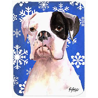 Cooper Winter Snowflakes Boxer Glass Cutting Board Large