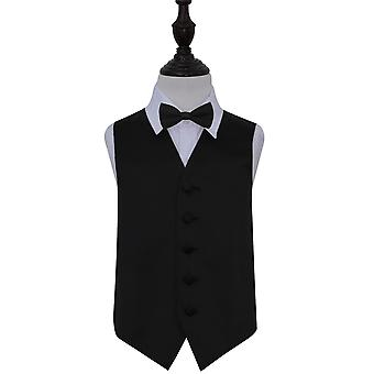 Boy's Black Plain Satin Wedding Waistcoat & Bow Tie Set