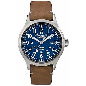 Timex Mens Scout Blue Dial Brown Leather Strap TW4B01800 Watch
