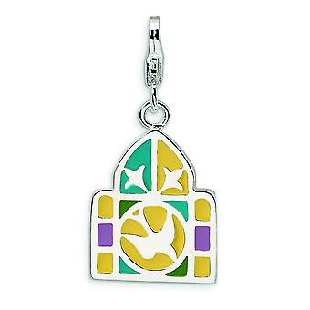 Sterling Silver Rhodium-plated Fancy Lobster Closure 3-D Enameled Stain Glass Window With Lobster Clasp Charm - Measures