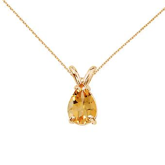 14k Yellow Gold Pear Shaped Citrine Pendant with 18