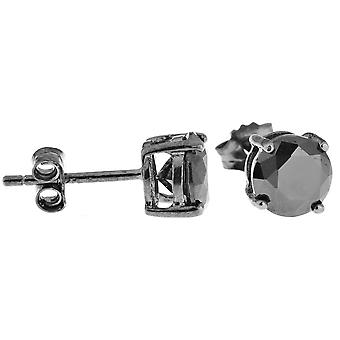 925 sterling silver CAST bling earrings - around / black