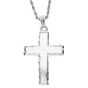 Iced Out Bling diamante taglio croce pendente - argento