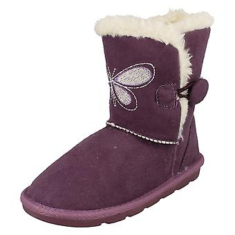 Girls Spot On Fur Lined Short Boots H4099