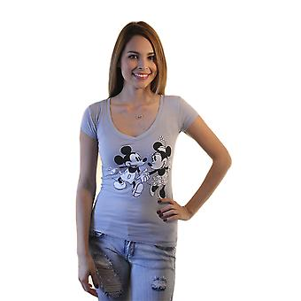 Disney Mickey Mouse and Minnie Mouse holding hands Women's Grey T-shirt