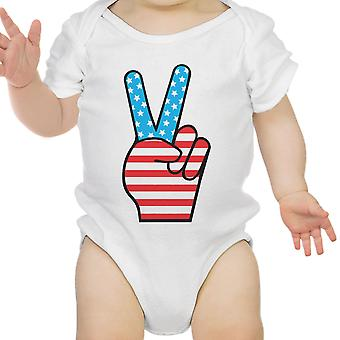 Peace Figure Sign American Flag Baby Onesie For Independence Day