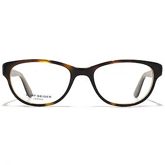Kurt Geiger Alice Preppy Soft Rectangular Acetate Glasses In Tortoiseshell With Nude Interior