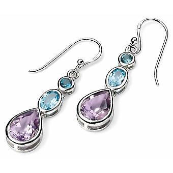 925 Silver Topaz And Amethyst Earring