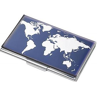 Trojka Weltkarte Business Card Holder - blauw/wit