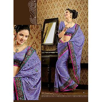 Damyanti 藤色のどクレープ高級パーティー着るサリー サリー