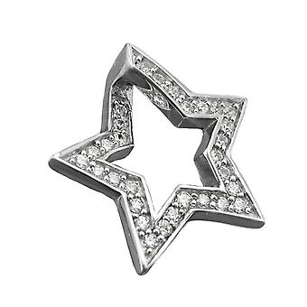 Pendants silver rhodium-plated pendant star of zirconias 925 sterling silver