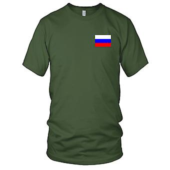 Russland russische Land Nationalflagge - Stickerei Logo - 100 % Baumwolle T-Shirt Herren T Shirt