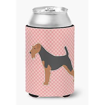 Welsh Terrier Checkerboard Pink Can or Bottle Hugger