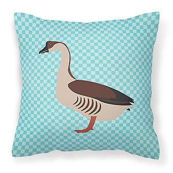 Cheque azul tejido decorativo de la almohadilla del ganso chino
