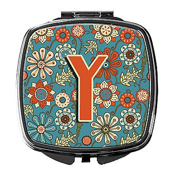 Carolines Treasures  CJ2012-YSCM Letter Y Flowers Retro Blue Compact Mirror