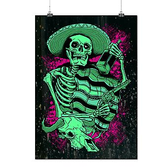 Matte or Glossy Poster with Mexican Hat Art Skull | Wellcoda | *d2810