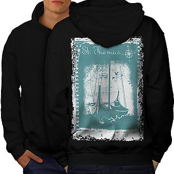 St. Thomas Ship Men BlackHoodie Back | Wellcoda