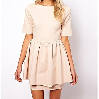 ASOS Skater Dress With Peplum Skirt Sizes 6, 8, 10, 12, 14, 16, 18 Nude / Navy[6,Beiges]