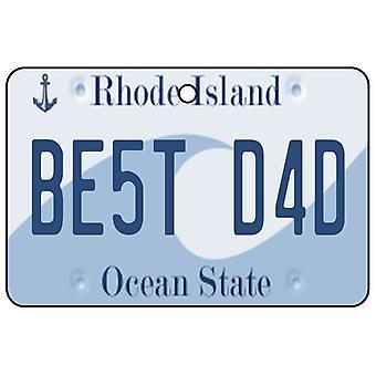 Rhode Island - Best Dad License Plate Car Air Freshener