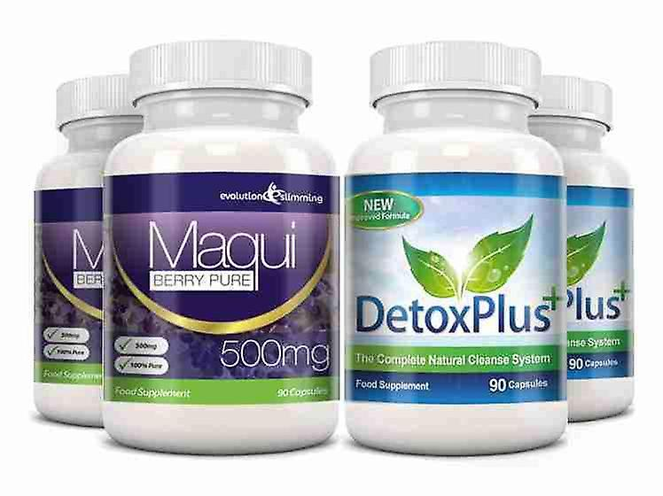 Maqui Berry and Detox Cleanse Combo Pack - 2 Month Supply - Antioxidant and Colon Cleanser - Evolution Slimming