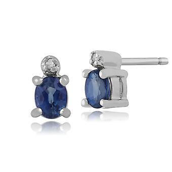 9ct or blanc 0,41 ct Kanchanaburi Sapphire & Diamond Stud Earrings