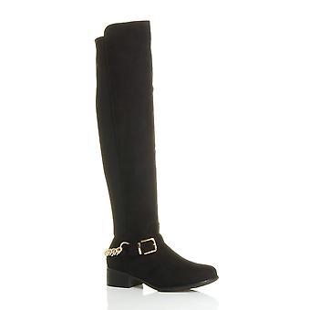Ajvani dame høj over knæet elastiske krumme strække pull på lav hæl støvler