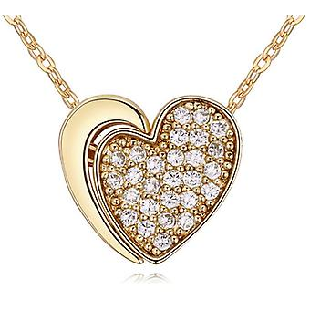 Womens Gold Two Part Heart Pendant Necklace Crystal Elements