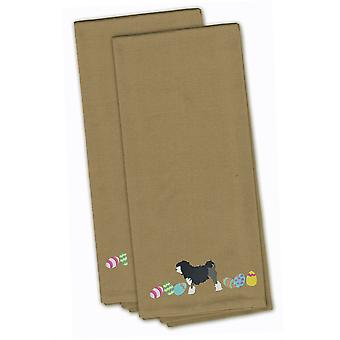 Lowchen Easter Tan Embroidered Kitchen Towel Set of 2