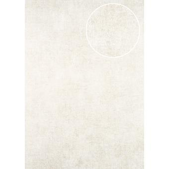 Uni wallpaper ATLAS CLA-598-5 non-woven wallpaper smooth, shimmering in the used look cream perl gold 5.33 m2 perl white