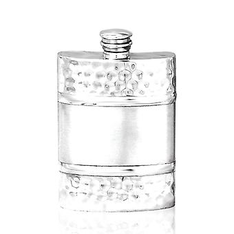 Hammered Satin Band Pewter Hip Flask - 4oz