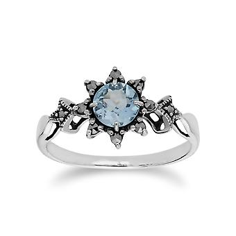 Gemondo Sterling Silver Blue Topaz & Marcasite November Art Nouveau Style Ring