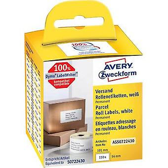 Avery-Zweckform AS0722400 Label roll 89 x 36 mm Paper White 520 pc(s) Permanent Address labels