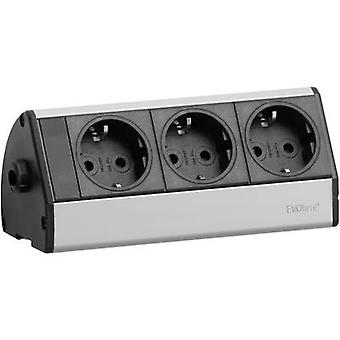 EVOline 93000393 Socket strip (w/o switch) Black/silver PG connector