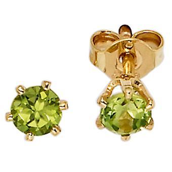 Gemstone Stud øredobber 585 gull gul gull Peridot grønne øredobber gull halvedelstener øredobber