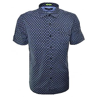Replay Men's Navy Blue Flower Pattern Shirt