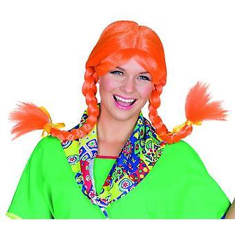 Carla brillante peluca de la señora naranja con flequillo y trenzas de carnaval