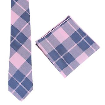 Knightsbridge Neckwear Check Tie and Pocket Square set - Pink/Navy
