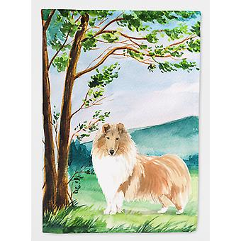 Carolines Treasures  CK2561CHF Under the Tree Collie Flag Canvas House Size