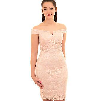 Dames Bardot uit schouder V hals Floral Lace Overlay bekleed Bodycon jurk