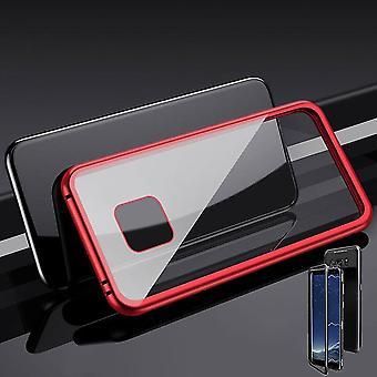 Pour aimant de Huawei mate 20 Pro / métal / verre pare-chocs rouge / transparent case Housse Etui nouveau