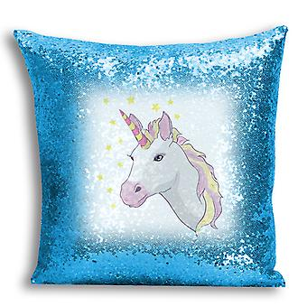 i-Tronixs - Unicorn Printed Design Blue Sequin Cushion / Pillow Cover with Inserted Pillow for Home Decor - 6