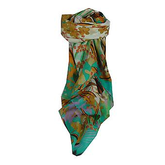 パシュミナ ・ シルクで桑絹現代正方形スカーフ ソルティ ・ ティール