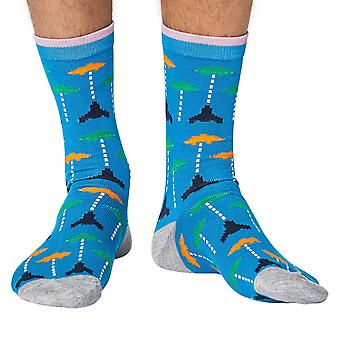 Space invaders men's super-soft bamboo crew socks in blue | Thought