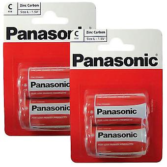 4 x Panasonic R14RZ-2BP C Size Batteries