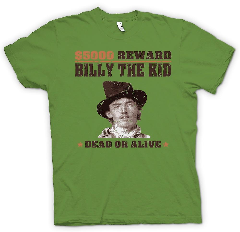 Herren T-shirt - $5000 belohnen Billy The Kid - alte Western wollte Poster