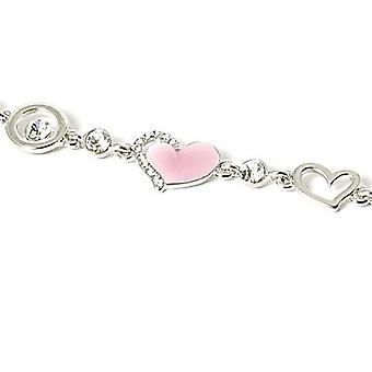 TOC Silvertone & Pink Rhinestone Set Heart and Circle Link 7.5